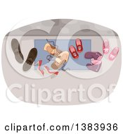 Clipart Of A Door Mat With Family Shoes Royalty Free Vector Illustration by BNP Design Studio