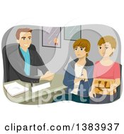 Clipart Of A White Male Guidance Counselor Speaking With Am Other And Her Teenage Son Royalty Free Vector Illustration