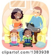 Clipart Of A Happy Interracial Family Using Their Smart Phones Laptops And Tablets In A Living Room Royalty Free Vector Illustration by BNP Design Studio