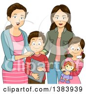 Clipart Of A Group Of Brunette White Mothers And Children Royalty Free Vector Illustration