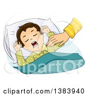 Clipart Of A Mothers Hand Reaching Out To Wake A Brunette White Sleeping Boy Royalty Free Vector Illustration