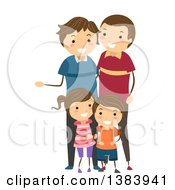 Clipart Of A Happy Brunette White Family With A Son Daughter And Two Fathers Royalty Free Vector Illustration