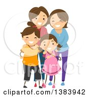 Clipart Of A Happy Brunette White Family With A Son Daughter And Two Mothers Royalty Free Vector Illustration
