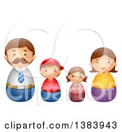 Clipart Of A Caucasian Nesting Doll Family Of Four Royalty Free Vector Illustration