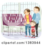 Clipart Of A Happy Brunette Caucasian Family Laying A Votive Candle Down Royalty Free Vector Illustration