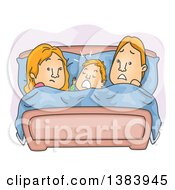 Clipart Of A Cartoon Frustrated Red Haired Couple With Their Son Between Them In Bed Royalty Free Vector Illustration by BNP Design Studio