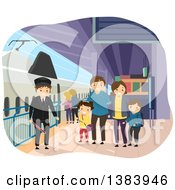 Clipart Of A Happy Caucasian Family At A Train Station Royalty Free Vector Illustration