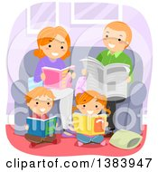 Clipart Of A Happy Red Haired White Family Reading Books In A Living Room Royalty Free Vector Illustration