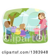 Clipart Of A Happy Brunette Mother And Children Hanging Laundry To Dry On A Line In Their Yard Royalty Free Vector Illustration by BNP Design Studio