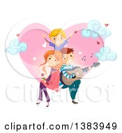Happy Caucasian Father Serenading His Son And His Wife In Front Of A Heart With Clouds