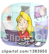 Cartoon Stressed Blond White Woman Trying To Balance Work And Family Responsibilities