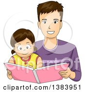 Clipart Of A Happy Brunette White Father And Daughter Reading A Book Royalty Free Vector Illustration