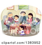 Clipart Of A Happy Caucasian Family And Their Dog Gathered Around A Table Royalty Free Vector Illustration