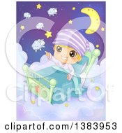 Clipart Of A Boy Sitting Up In A Bed On Clouds And Pointing Out Sheep And Stars Royalty Free Vector Illustration by BNP Design Studio