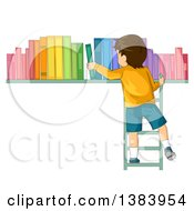 Clipart Of A Rear View Of A Brunette White Boy On A Ladder Putting Books On A Shelf Royalty Free Vector Illustration