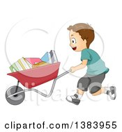 Clipart Of A Brunette White Boy Pushing A Wheelbarrow Full Of Books Royalty Free Vector Illustration