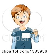 Clipart Of A Brunette White Boy Showing His Name Tag Royalty Free Vector Illustration