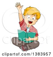 Clipart Of A Blond White Boy Sitting Reading And Raising His Hand Royalty Free Vector Illustration