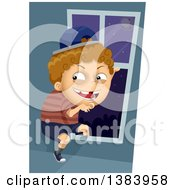 Clipart Of A Sneaky White Boy Going Out Through A Window At Night Royalty Free Vector Illustration