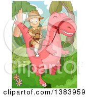 Clipart Of A Happy White Boy Riding A Pink Dinosaur In A Jungle Royalty Free Vector Illustration