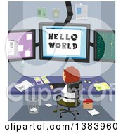 Clipart Of A Rear View Of A White Boy Writing Codes In His Room To Communicate To The World Royalty Free Vector Illustration