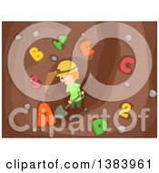 Clipart Of A Happy Red Haired White Boy Digging Up Numbers And Letters Royalty Free Vector Illustration