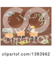 Clipart Of A Happy Paleontologist Boy Riding In A Cart Underground With Fossils Royalty Free Vector Illustration