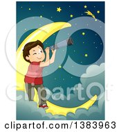 Clipart Of A Brunette White Boy Using A Telescope And Star Gazing On A Crescent Moon In The Clouds Royalty Free Vector Illustration