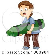 Clipart Of A Happy Brunette White Boy Carrying A Giant Crayon Royalty Free Vector Illustration