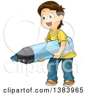 Clipart Of A Happy Brunette White Boy Carrying A Giant Marker Royalty Free Vector Illustration by BNP Design Studio