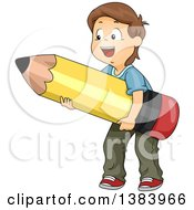 Clipart Of A Happy Brunette White Boy Carrying A Giant Pencil Royalty Free Vector Illustration