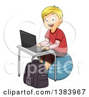 Clipart Of A Happy Blond White School Boy Sitting On An Exercise Ball And Using A Laptop Computer Royalty Free Vector Illustration