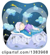 Clipart Of A Happy Boy Sleeping On Top Of The Moon With Stars And Clouds In The Background Royalty Free Vector Illustration by BNP Design Studio