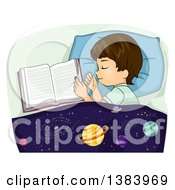 Clipart Of A Brunette White Boy Sleeping Next To An Open Book An Astronomy Blanket Over Him Royalty Free Vector Illustration