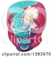 Clipart Of A Mad Scientist Boy Mixing Chemicals In A Tall Test Tube Royalty Free Vector Illustration