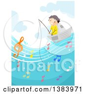Clipart Of A Happy Boy Fishing From A Paper Boat And Catching Music Notes Royalty Free Vector Illustration