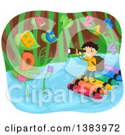 Clipart Of A School Boy Standing On A Crayon Raft And Looking Through Binoculars At Giant Plants With Letters And Numbers Royalty Free Vector Illustration by BNP Design Studio