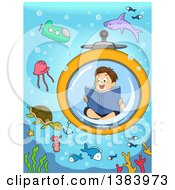 Brunette White Boy Reading A Book In A Submarine And Viewing Sea Creatures