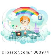 Happy Red Haired White Boy Conducing A Science Experiment Under A Rainbow