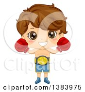 Clipart Of A Brunette White Boy Boxer Wearing A Belt And Gloves Royalty Free Vector Illustration