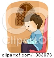 Clipart Of A Brunette White Boy In A Confession Booth Royalty Free Vector Illustration