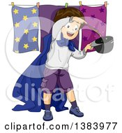 Clipart Of A Brunette White Boy Pretending To Be A Magician Royalty Free Vector Illustration