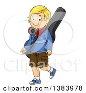 Clipart Of A Blond White Boy Walking With A Guitar Case And Headphones Royalty Free Vector Illustration by BNP Design Studio