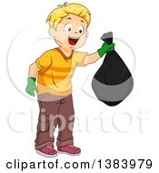 Clipart Of A Blond White Boy Holding A Garbage Bag Royalty Free Vector Illustration by BNP Design Studio