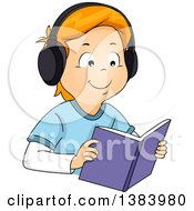 Clipart Of A Happy Red Haired White Boy Wearing Headphones And Reading An Audio Book Royalty Free Vector Illustration by BNP Design Studio