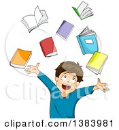 Clipart Of A Happy Brunette White Boy Tossing Up Books Royalty Free Vector Illustration