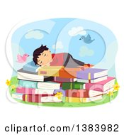 Clipart Of A Brunette White Boy Sleeping On A Bed Of Books Outdoors Royalty Free Vector Illustration