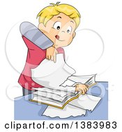 Clipart Of A Blond White Boy Tearing Pages Out Of A Book Royalty Free Vector Illustration