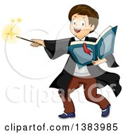 Clipart Of A Brunette White Boy Wizard Holding A Book And Casting A Spell Royalty Free Vector Illustration by BNP Design Studio
