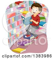 Clipart Of A Happy Brunette White Boy On Floating Book Steps In A Library Royalty Free Vector Illustration